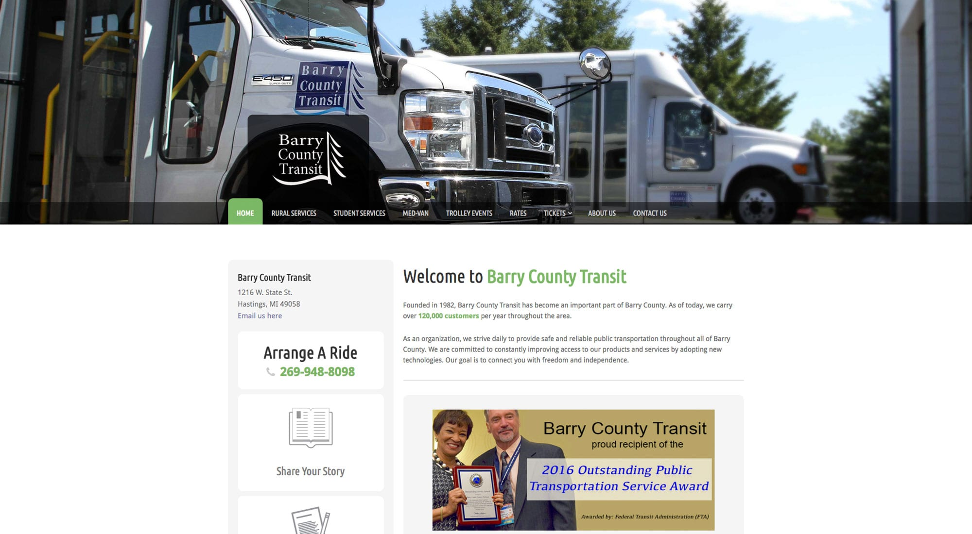 Barry County Transit in Hastings MI website designer Pixelvine Creative