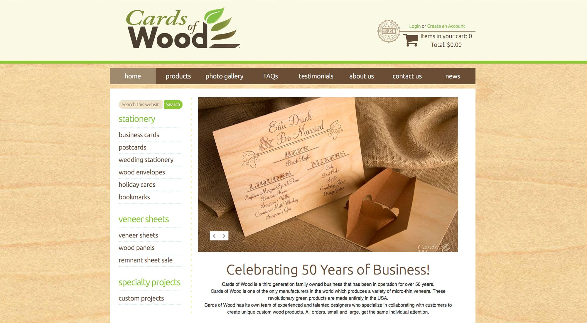 Cards of Wood Website design by Pixelvine