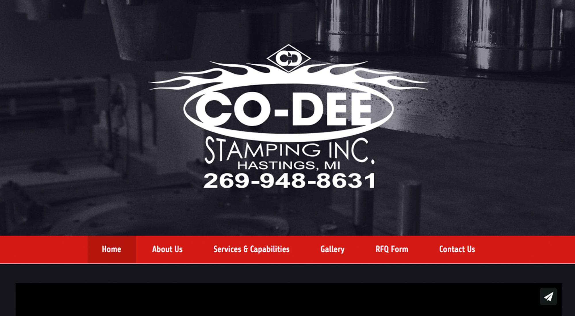 Co-Dee Stamping Hastings MI Website design by Pixelvine Creative