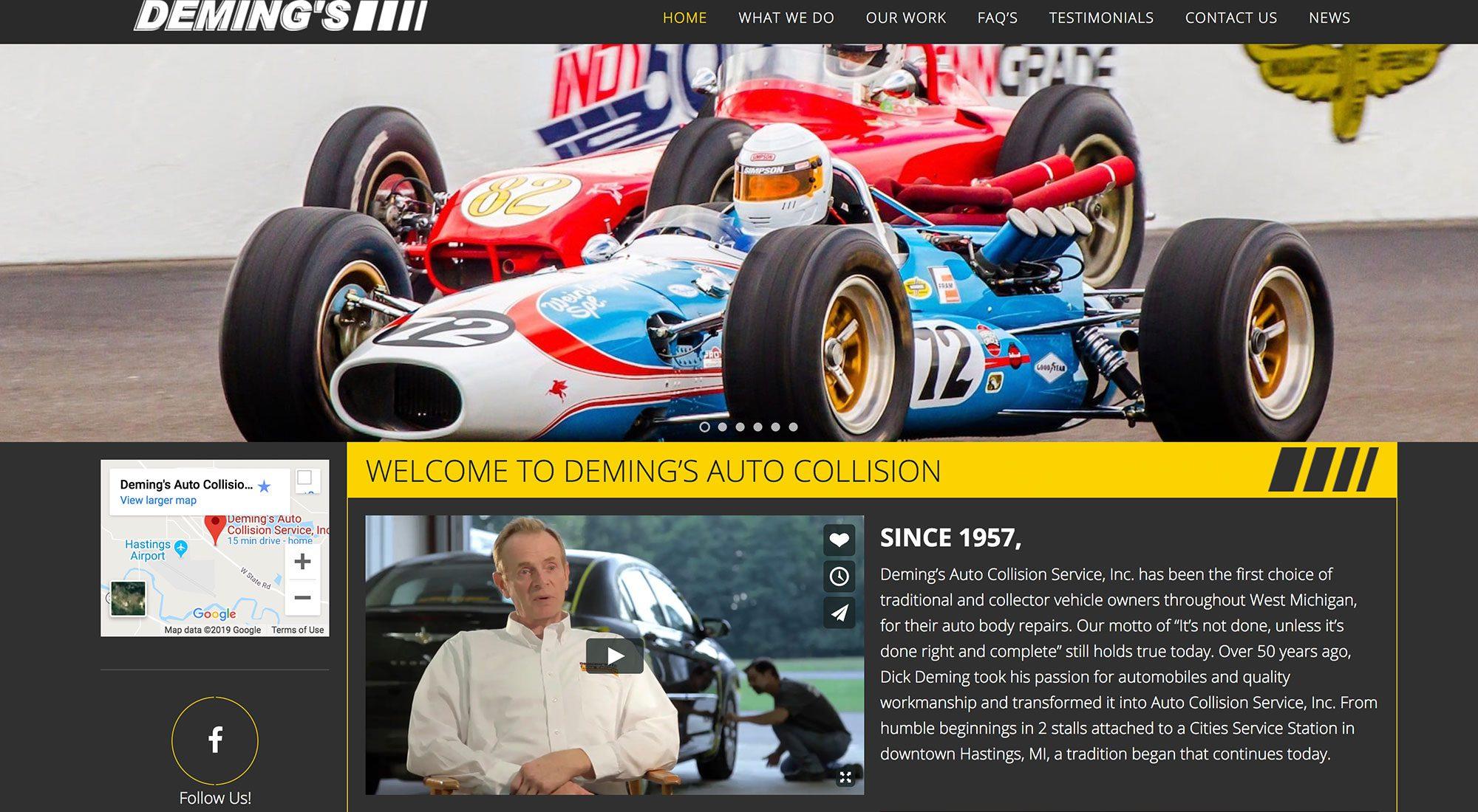 Deming's Auto Collision Hastings MI Website Design