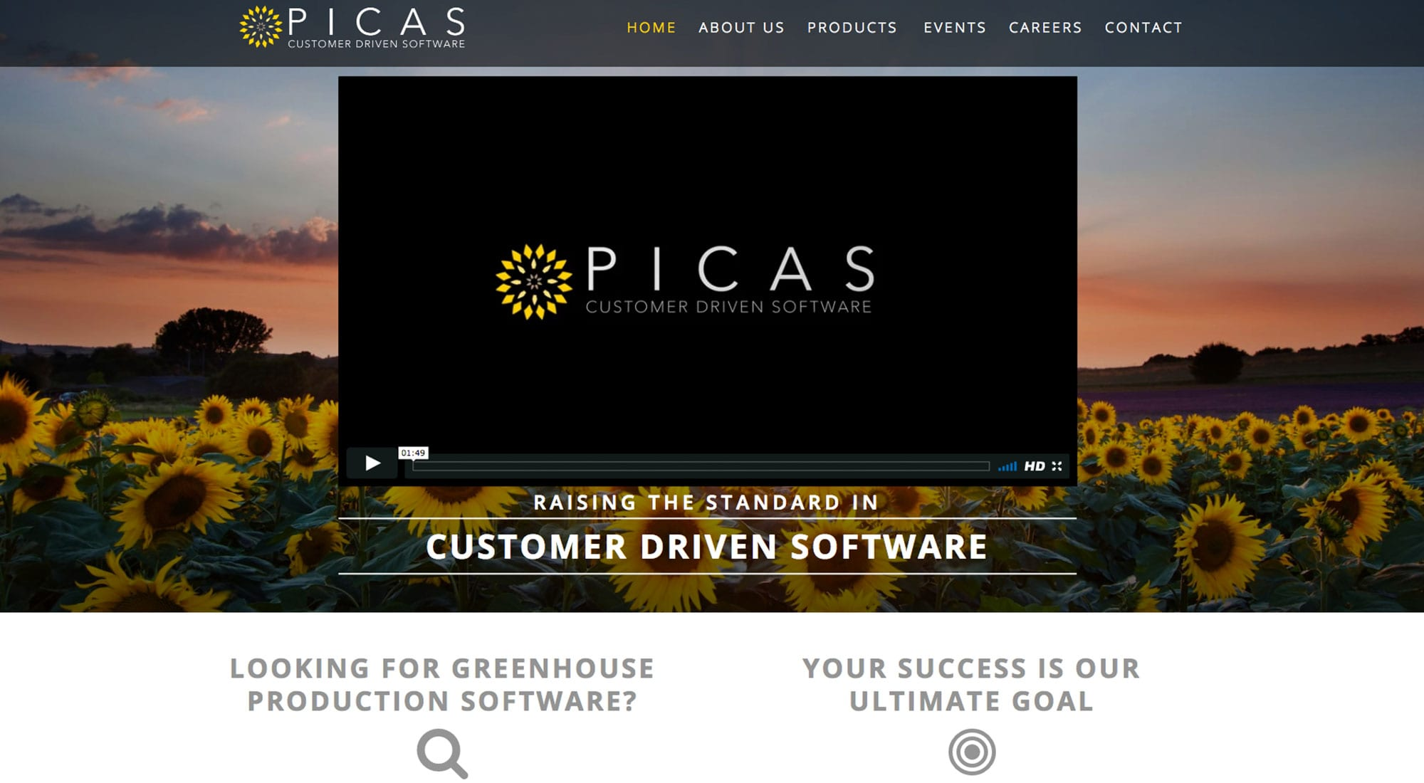 PICAS software website design by Pixelvine Creative