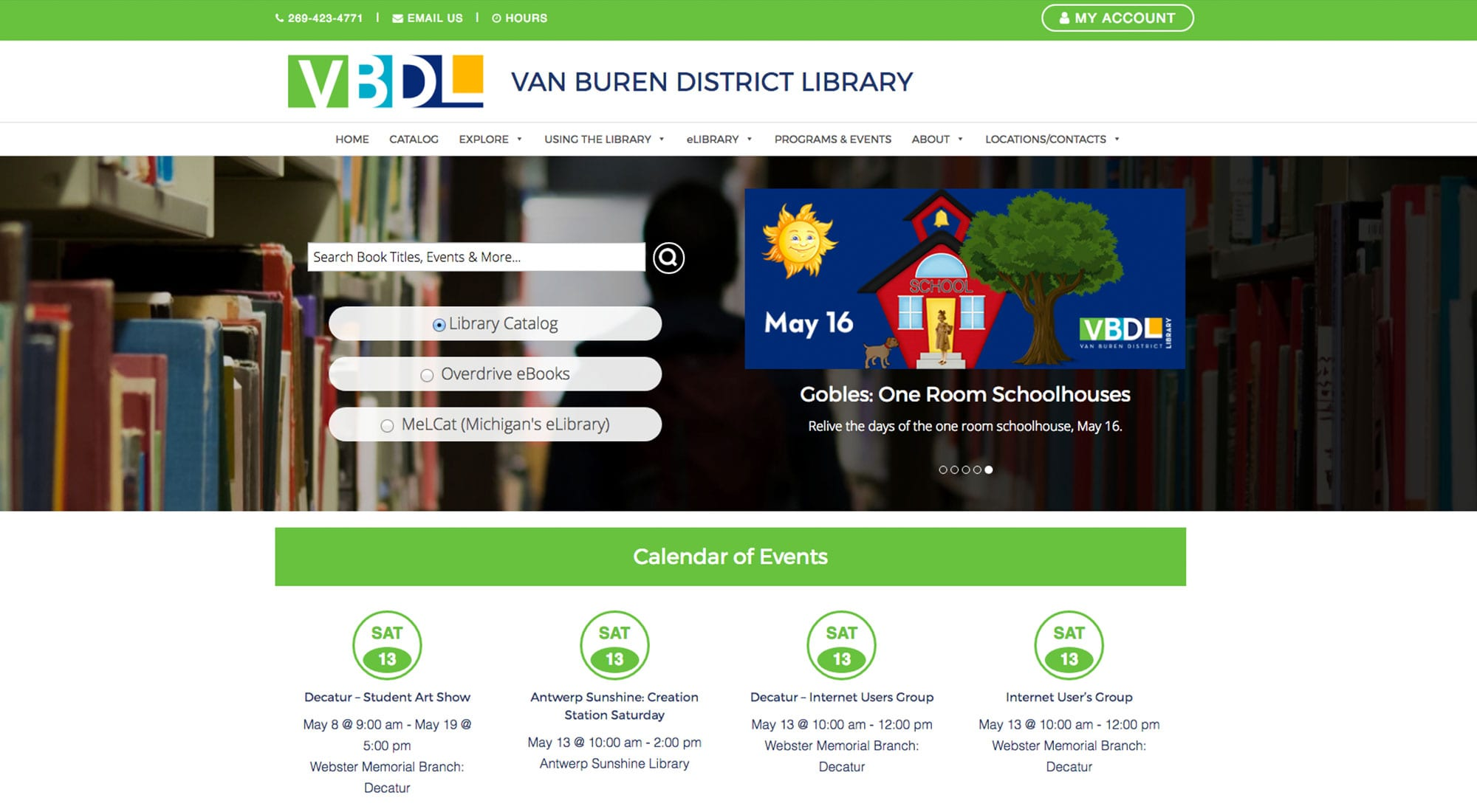 Van Buren District Library Website Design by Pixelvine Creative