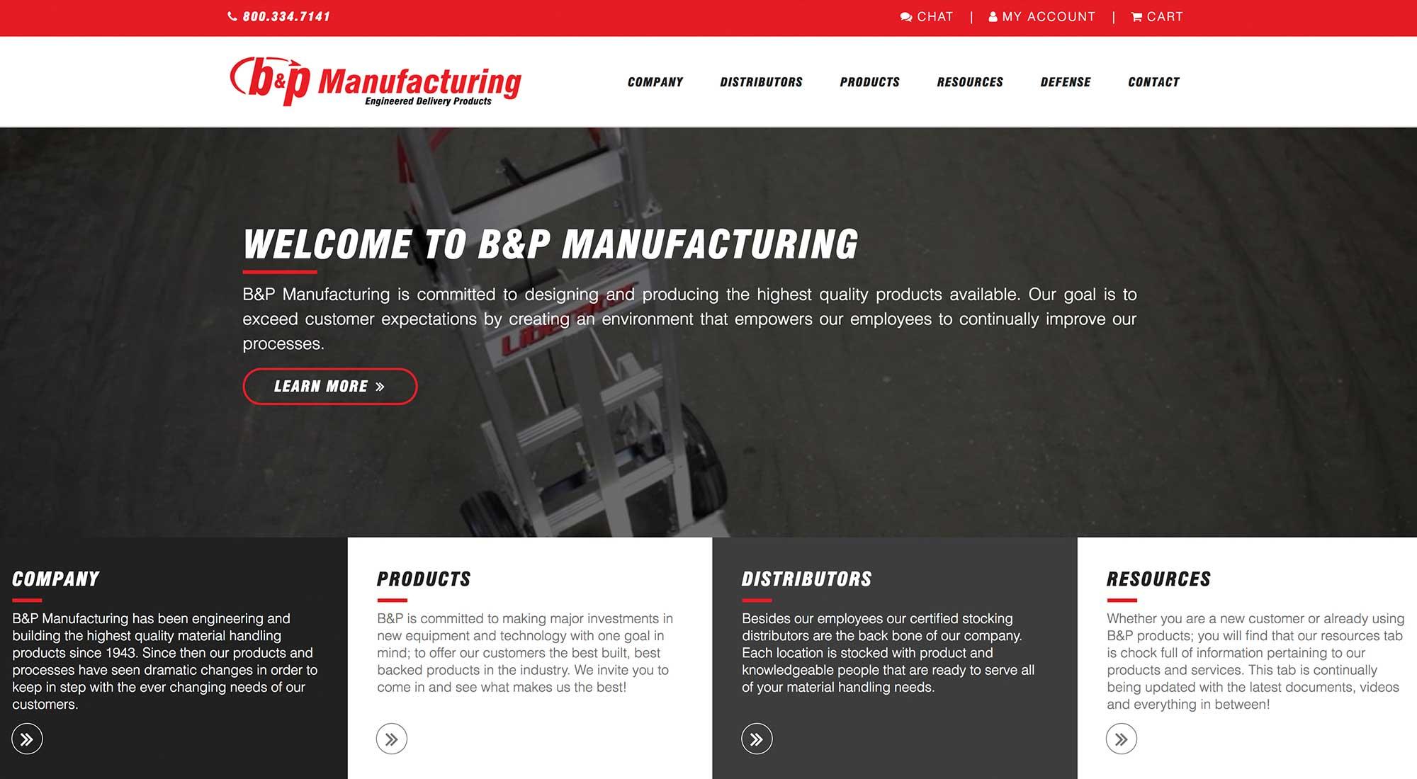B&P Manufacturing Cadillac MI Website Designer Pixelvine