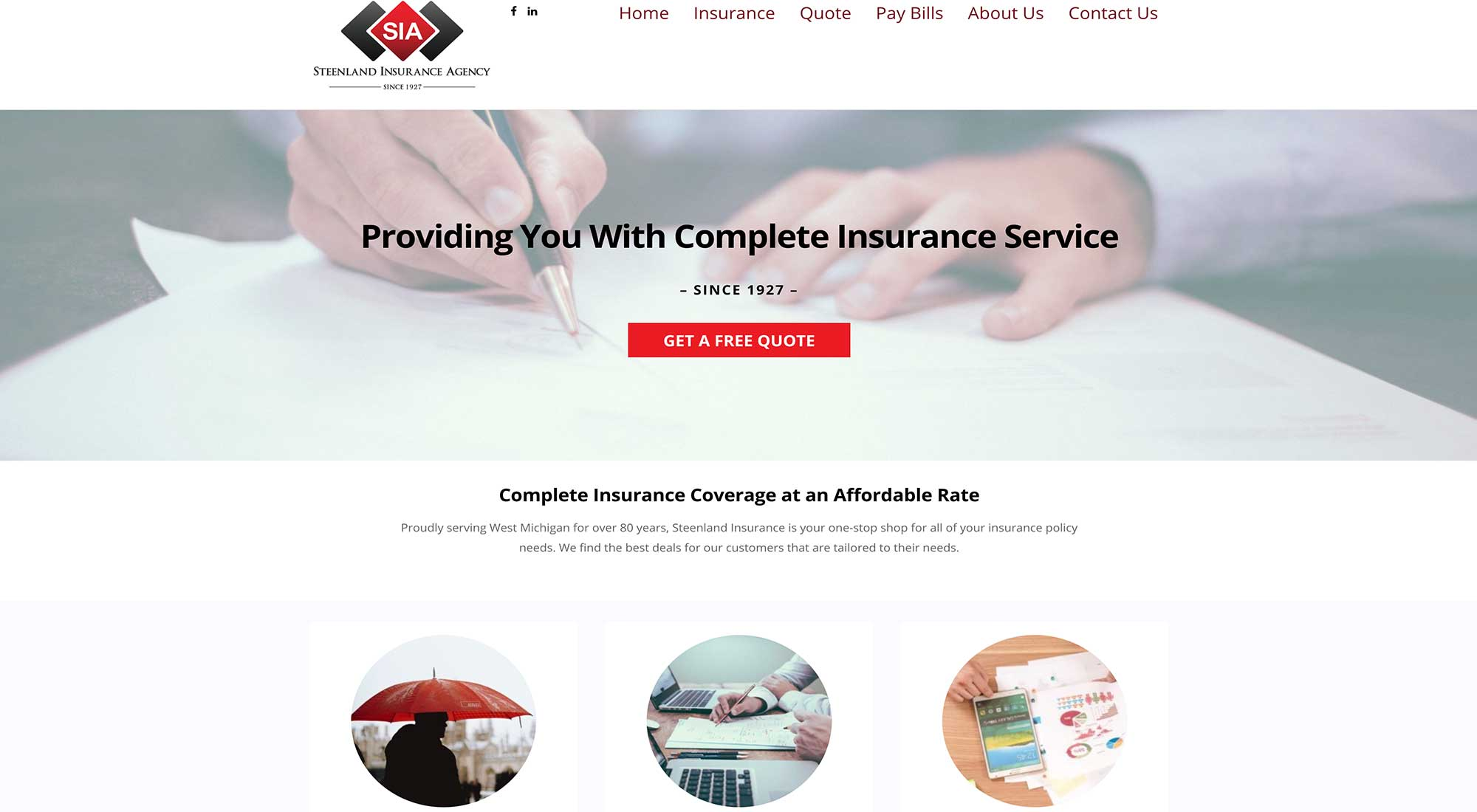 Steenland Insurance Grand Rapids MI Website Design Pixelvine Creative