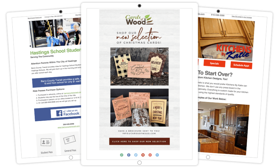 Samples of our email newsletters we have made for customers