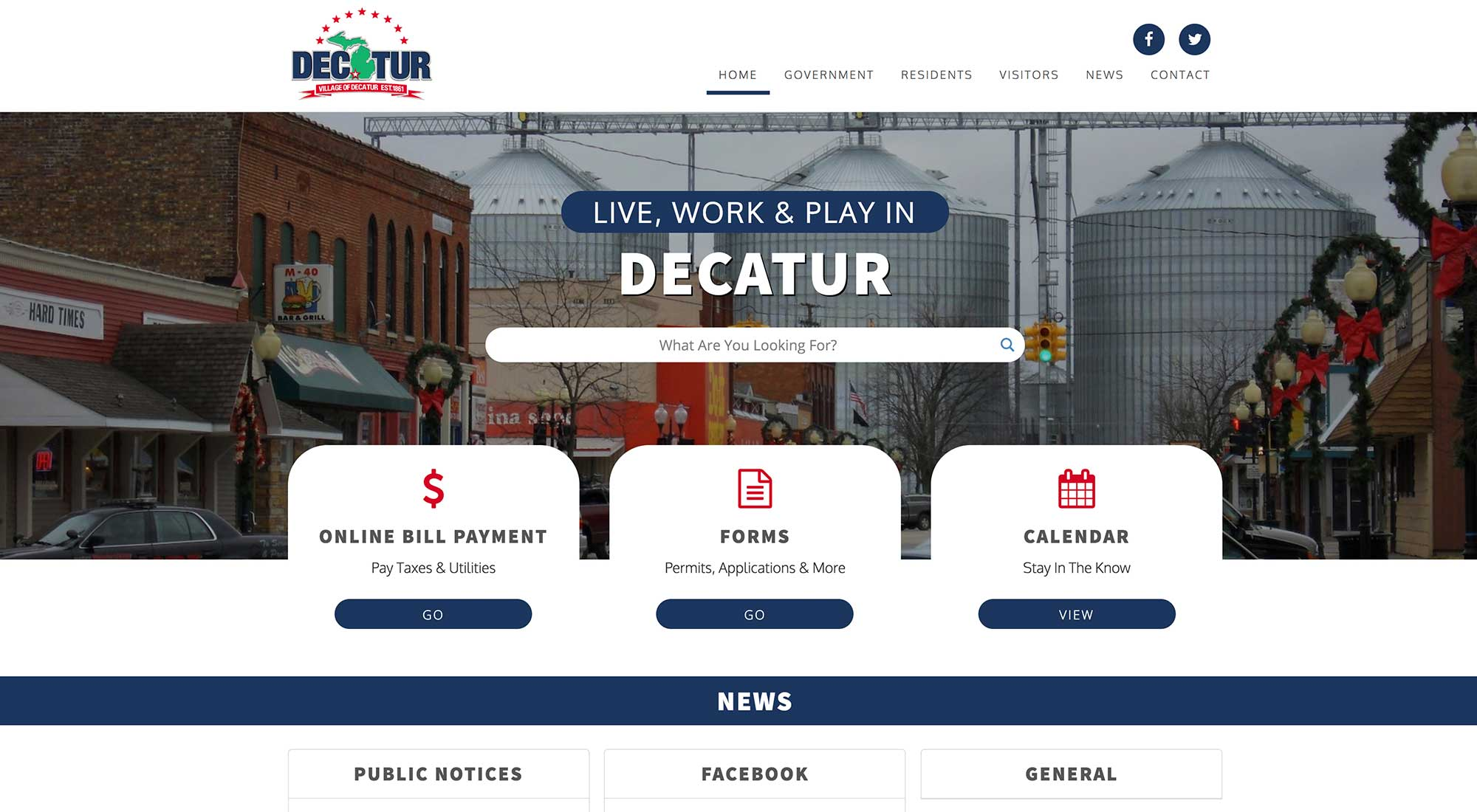 Village of Decatur MI Website Design